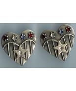 Flag Hearts w Stars Red White Blue Rhinestones Earrings Handmade - $10.00