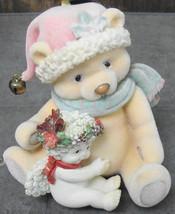 Dreamsicles Christmas Fuzzy Wuzzy Flocked Figurine Cherub & Bear Vintage - $18.99