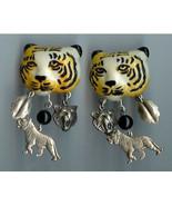 Lion Head w Charms Chandelier Earrings Silver Finish Handmade - $15.00