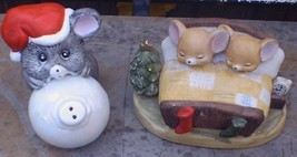 Mouse on Christmas Ornament and 2 Mice in Bed - $20.00