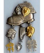 Old Woman Who Lived in A Shoe w Children Hearts Charms Pin Handmade - $15.95