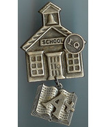 Schoolhouse A+ IQ Teacher Pin Silver Finish Handmade - $10.00