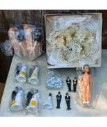 Vintage Wedding Cake Decorations Large Lot Dolls Metallic Leaves - $24.99