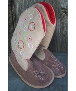 Beige Suede Boot Slippers w Embroidery Flowers Medium - $12.99