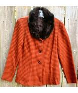 Black Red Herringbone Acrylic Tweed Fitted Blazer Jacket Fur Collar 9 Ju... - $24.99