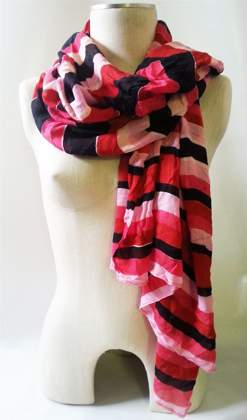 "Stella & Dot Scarf Palm Springs Red Multistripel Light Weight Rayon 40"" x 80"""