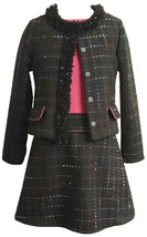 Little Girls 4-6X Black Pink Tweed Dress Jacket Set, Bonnie Jean