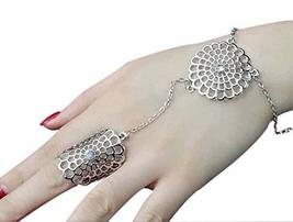 Fashion Personality Bracelet Jewelry Finger Rings And Chains, Silver Round