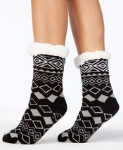 Charter Club Holiday Fleece Gripper Slipper Socks Black Pattern - $7.14