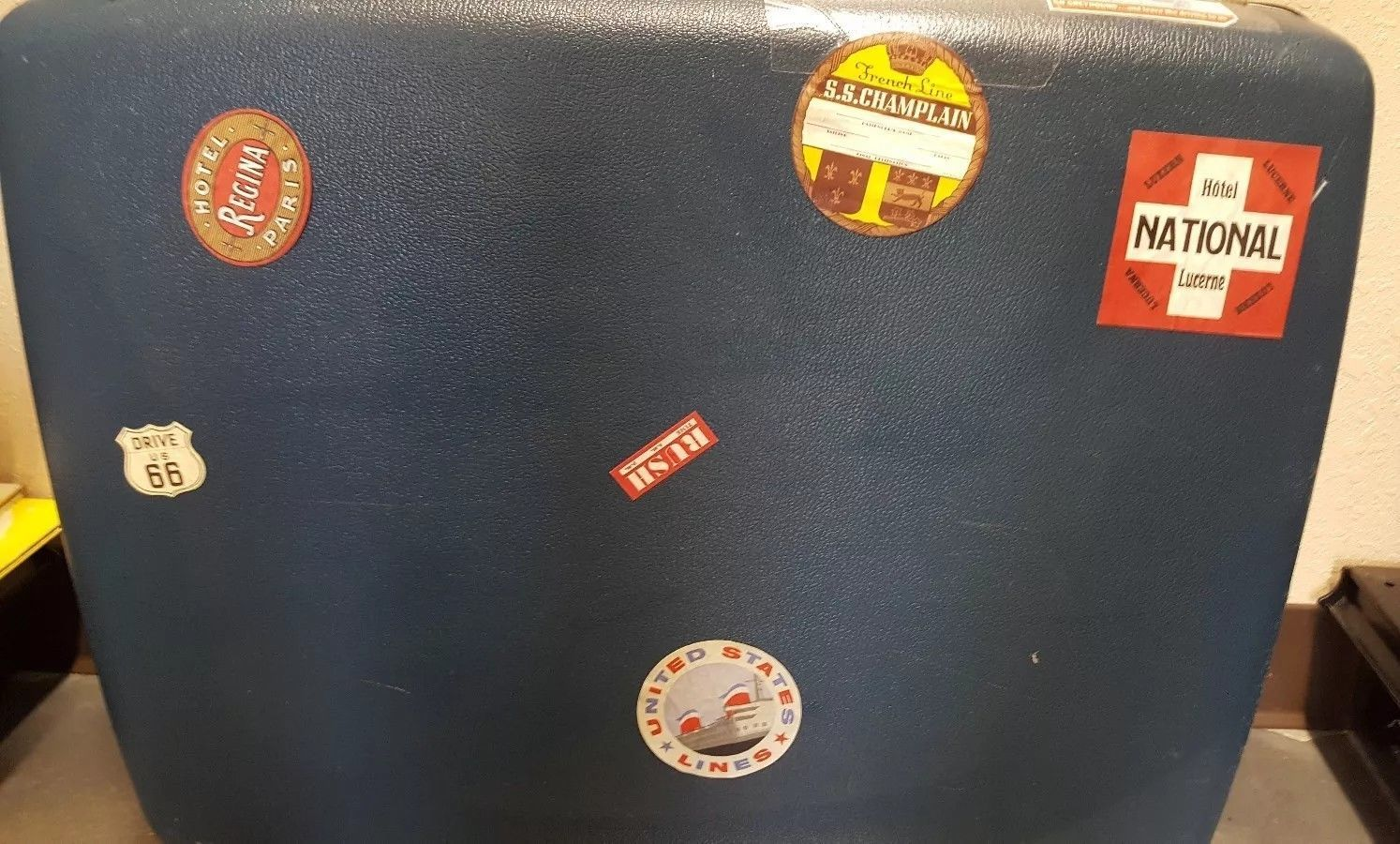 Vintage Blue Samsonite Luggage Suitcase Travel Sticker USA Paris Peking Imperial