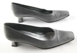 Stuart Weitzman Pumps Womens Size 8 Gray Slip On Low Heel Square Toe Shoes - £25.27 GBP
