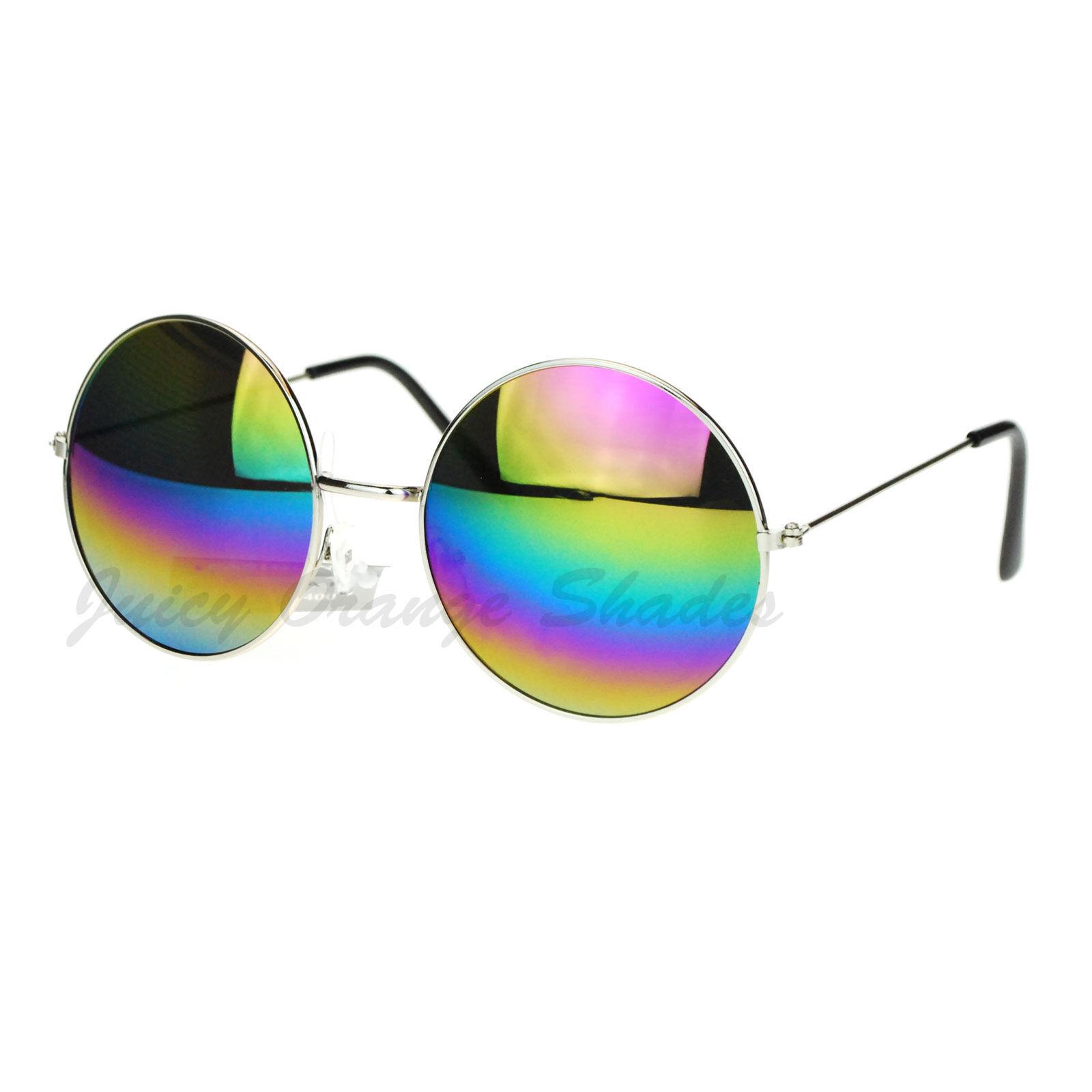 Rainbow Mirror Lens Round Circle Metal Frame Womens Sunglasses