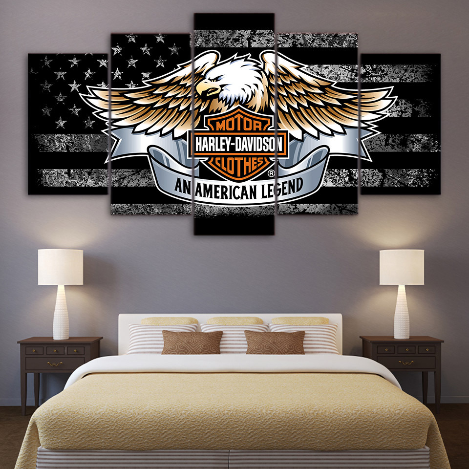 Used, Large Framed Harley Davidson Legends Rustic Flag Canvas  Wall Art Home 5 Piece for sale  USA