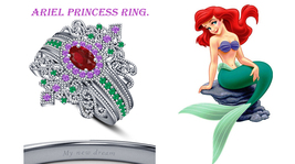 14K White Gold 925 Silver Multi Color Ariel Princess Engagement Wedding Ring Set - $129.99