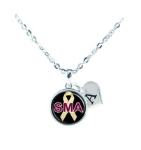Custom Spinal Muscular Atrophy Awareness Ribbon Silver Necklace Jewelry ... - $13.94