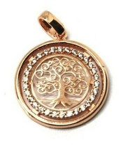 Pendant Tree of Life Gold 18K 750 Pink and Zircon Cubic Made in Italy image 2