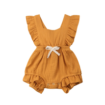 Cute Baby Girl Ruffle Solid Color Romper Jumpsuit Outfits Sunsuit, Orange - $16.86