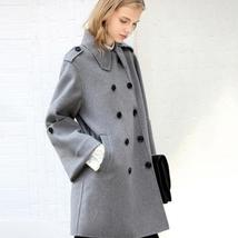 Women English Vintage Winter Solid Double Breasted Cloak 100% Wool Trench Coat image 2