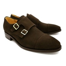Handmade Men's Brown Suede Two Tone Monk Strap Shoes image 1