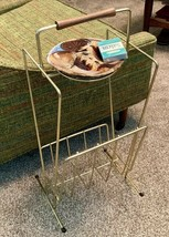 Vtg Ashtray Magazine Stand Rack Ceramic Snack Drink Tray Wood Handle Gol... - $128.69