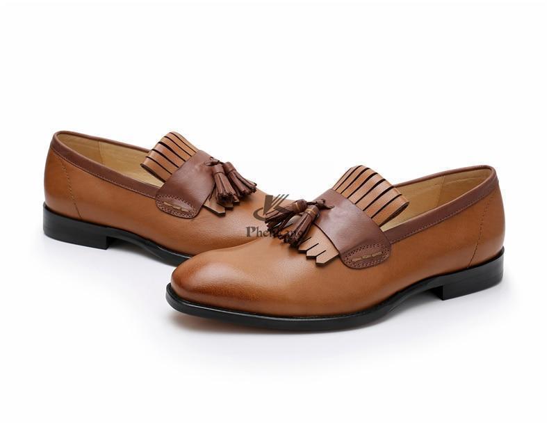 Genuine Leather Premium Brown Color Loafer Slip Ons Handcrafted Men Tassel Shoes