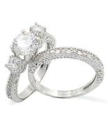 HCJ STERLING SILVER 3 STONE CZ ENGAGEMENT & WEDDING RING BRIDAL SET SZ 7 - $29.24