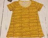 LuLaRoe Classic T Mustard Gold Tones Geometric Print Short Sleeve Top Size XXS