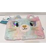 Fuzzy and Glitter Kitty Pencil Case Pouch For 3 Ring Binder Cosmetic Zip... - $11.61
