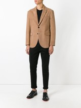 Men Two Button Notched Suede Leather Blazer Coat For Men - $180.00