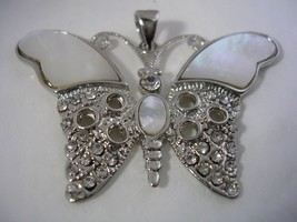 BUTTERFLY PENDANT WITH MOTHER OF PEARL & CRYSTAL SET IN STERLING SILVER - $23.33