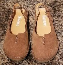 Clarks Originals Wos Shoes 33585 US 7.5 M Brown Leather Crepe Sole Slingbacks - $27.71