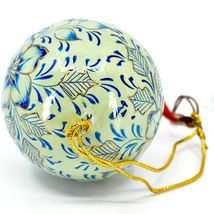 Asha Handicrafts Painted Papier-Mâché Blue & Gold Floral Christmas Ornament image 5