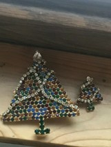 Vintage Lot of Large Colorful Rhinestone Goldtone w Clear Draping Garlan... - $38.19