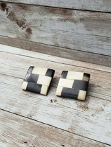 Vintage Clip On Earrings Wooden Tiled Square Statement - $13.99