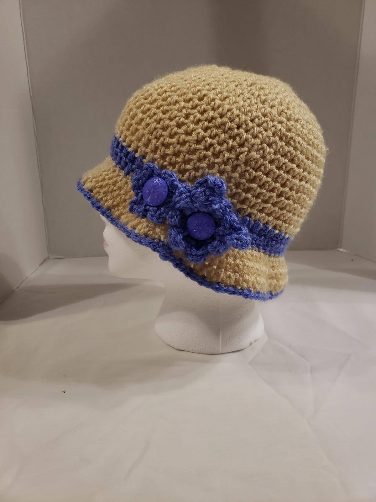Handmade Crochet  Ladies' Cloche style Hat Tan/Blue