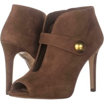 MICHAEL Michael Kors Agnes Studded Cut-Out Pointed Toe Heels 685, Dark Caramel, - $126.71