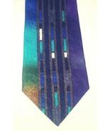 Saliari Men's Tie Vertical Stripes on Jewel Toned Background Handstitch ... - $24.14