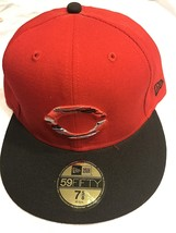 Team Cincinnati Reds MLB Cap size 7 1/8 New Era 59Fifty Red with black b... - $9.45