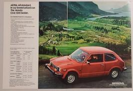 1977 Print Ad Honda Civic 1200 Sedan Cars Country Scene & Lake - $11.56