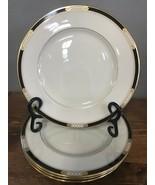 "Lenox Hancock Presidential 4 Salad Plates 8 ⅜"" Black Gold Beaded - $93.49"