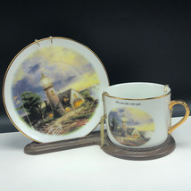 THOMAS KINKADE CUP SAUCER COLLECTOR PLATE pair Fill life with light stor... - $45.54
