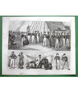 SHIP OF WAR Manning Officers Sailors Russian French - SUPERB 1844 Antiqu... - $21.42
