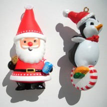 lot 2 Hallmark Christmas ornaments 2008 Santa Cookies Cocoa 1988 Penguin... - $8.89