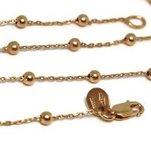 18K ROSE GOLD MINI BALLS CHAIN 2 MM, 18 INCHES SPHERE ALTERNATE OVAL ROLO LINK image 3