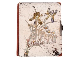 Antique Vintage Victorian Photo Album - Celluloid Cover Book with Irises - $42.08