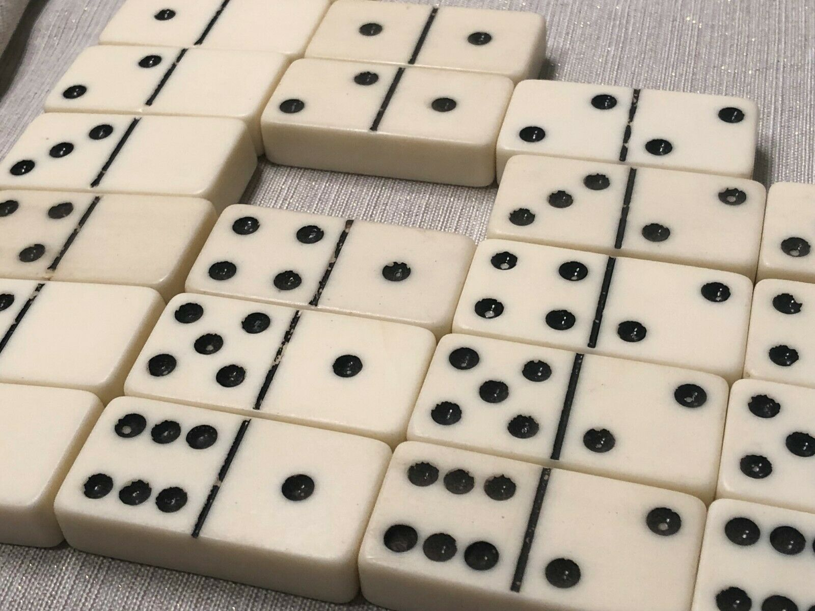 (27 of 28) Incomplete Vintage Double Six Dominoes Tiles Set Crafts Missing One