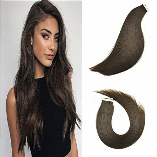 KOCONI Tape In Hair Extensions Remy Human Hair Extensions Balayage Ombre Brown t