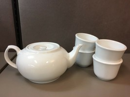 Set of Chao-An Made in China Tea Set -Teapot 4 Cups White - $31.67