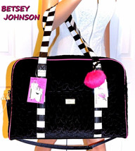 Luv BETSEY JOHNSON Black Tote Duffel Bag Weekender Quilted Velvet Travel... - $89.09