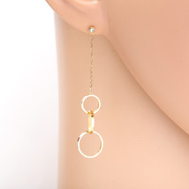 Designer Gold Tone Earrings with Swarovski Style Crystals & Dangling Circles - $17.99